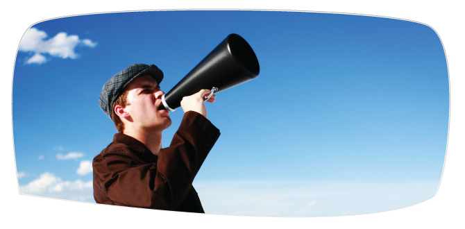 Image of a man with a megaphone